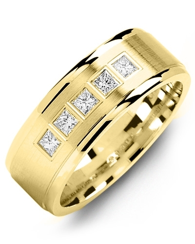 Men's & Women's Yellow Gold + 5 Diamonds 0.35ct Wedding Band
