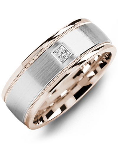 Men's & Women's Rose Gold & White Gold + 1 Diamond 0.07ct Wedding Band from MADANI Rings. Wedding bands, fashion rings, promise rings, made of Tungsten, Ceramic, Cobalt, and Gold. View the collection at madanirings.com