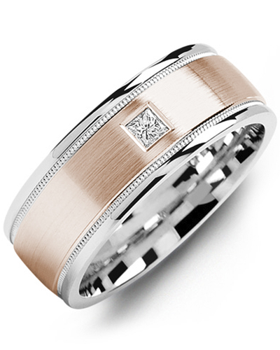 Men's & Women's White Gold & Rose Gold + 1 Diamond 0.07ct Wedding Band