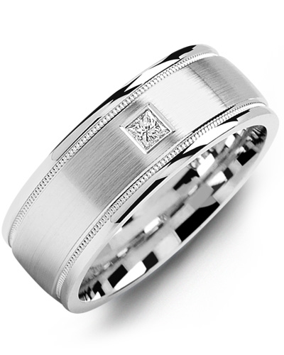 Men's & Women's White Gold & White Gold + 1 Diamond tcw. 0.07 Wedding Band from MADANI Rings. Wedding bands, fashion rings, promise rings, made of Tungsten, Ceramic, Cobalt, and Gold. View the collection at madanirings.com