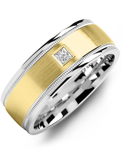 Men's & Women's White Gold & Yellow Gold + 1 Diamond tcw. 0.07 Wedding Band 10K 10mm