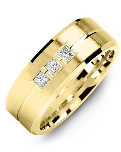 Men's & Women's Yellow Gold + 3 Diamonds 0.21ct Wedding Band