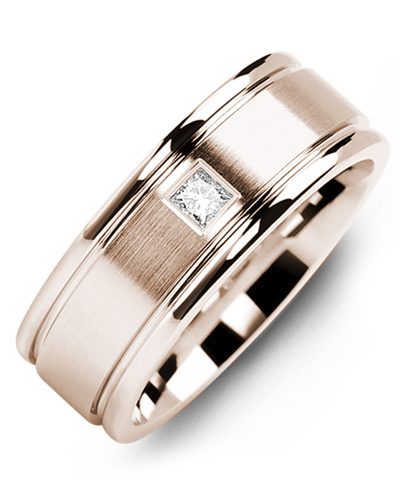 Men's & Women's Rose Gold + 1 Diamond 0.07ct Wedding Band