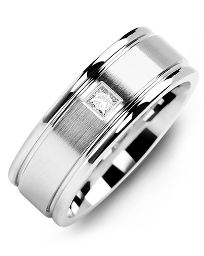 Men's & Women's White Gold + 1 Diamond 0.07ct Wedding Band