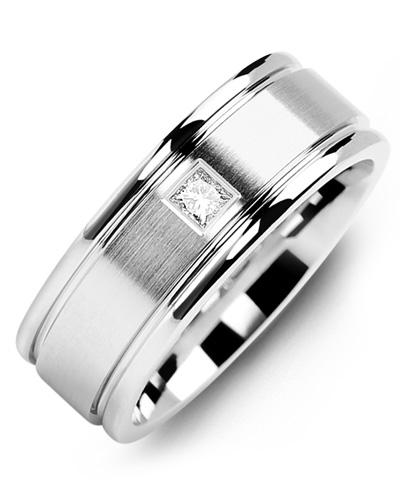 Men's & Women's White Gold + 1 Diamond tcw. 0.07 Wedding Band