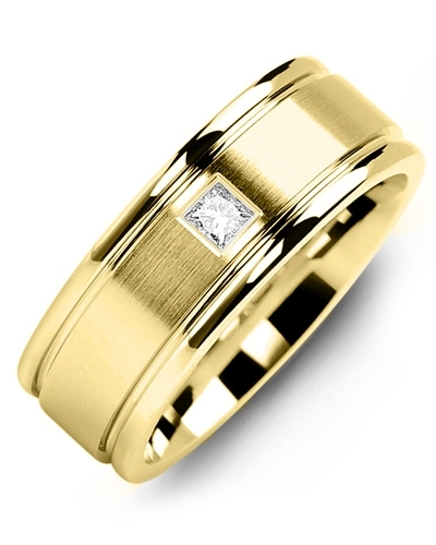 Men's & Women's Yellow Gold + 1 Diamond tcw. 0.07 Wedding Band from MADANI Rings. Wedding bands, fashion rings, promise rings, made of Tungsten, Ceramic, Cobalt, and Gold. View the collection at madanirings.com