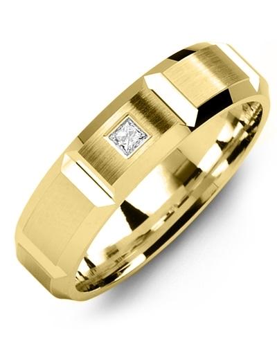 2025e11c6849c6 Men S Wide Accents Brush Diamond Beveled Gold Wedding Band Madani