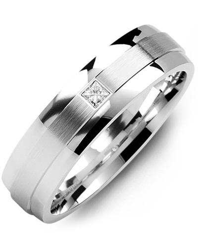 Men's & Women's White Gold + 1 Diamond tcw. 0.05 Wedding Band 10K 10mm
