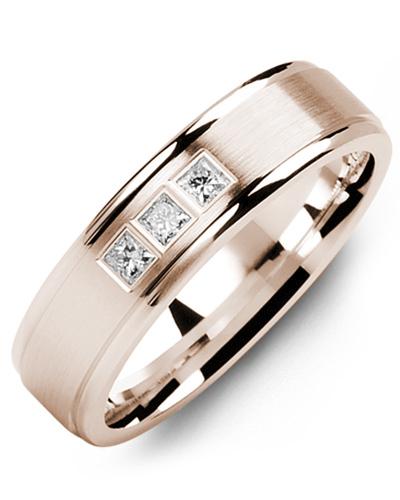 Men's & Women's Rose Gold + 3 Diamonds 0.15ct Wedding Band