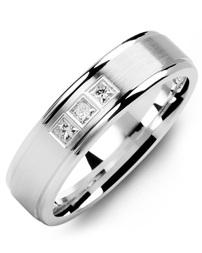 Men's & Women's White Gold + 3 Diamonds tcw. 0.15 Wedding Band 10K 9mm