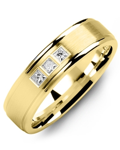 Men's & Women's Yellow Gold + 3 Diamonds 0.15ct Wedding Band 18K 6mm