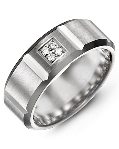 Men's & Women's White Gold + 4 Diamonds tcw 0.08 Wedding Band from MADANI Rings. Wedding bands, fashion rings, promise rings, made of Tungsten, Ceramic, Cobalt, and Gold. View the collection at madanirings.com