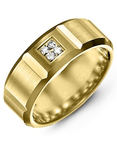 Men's & Women's Yellow Gold + 4 Diamonds tcw 0.08 Wedding Band 10K 9mm