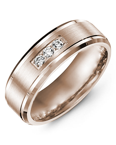 Men's & Women's Rose Gold + 3 Diamonds 0.15ct Wedding Band