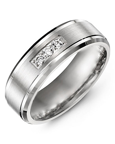 Men's & Women's White Gold + 3 Diamonds 0.15ct Wedding Band from MADANI Rings. Wedding bands, fashion rings, promise rings, made of Tungsten, Ceramic, Cobalt, and Gold. View the collection at madanirings.com
