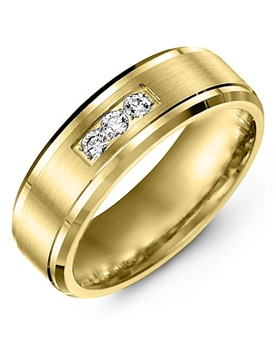 Men's & Women's Yellow Gold + 3 Diamonds 0.15ct Wedding Band