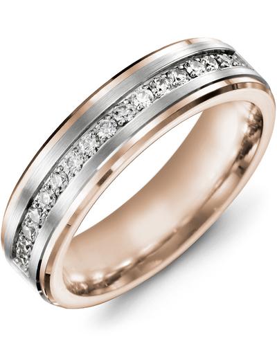 Men's & Women's Rose Gold & White Gold + 17 Diamonds 0.34ct Wedding Band