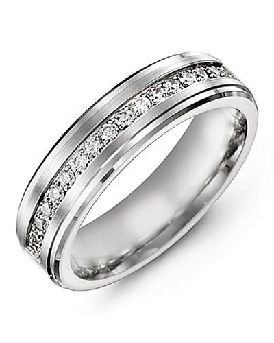 Men's & Women's White Gold & White Gold + 17 Diamonds 0.34ct Wedding Band from MADANI Rings. Wedding bands, fashion rings, promise rings, made of Tungsten, Ceramic, Cobalt, and Gold. View the collection at madanirings.com
