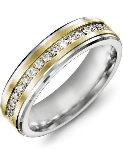 Men's & Women's White Gold & Yellow Gold + 17 Diamonds 0.34ct Wedding Band