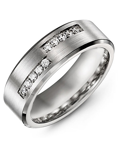 Men's & Women's White Gold + 10 Diamonds tcw. 0.20 Wedding Band from MADANI Rings. Wedding bands, fashion rings, promise rings, made of Tungsten, Ceramic, Cobalt, and Gold. View the collection at madanirings.com