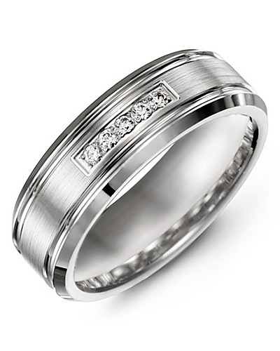 Men's & Women's White Gold + 5 Diamonds 0.10ct Wedding Band from MADANI Rings. Wedding bands, fashion rings, promise rings, made of Tungsten, Ceramic, Cobalt, and Gold. View the collection at madanirings.com