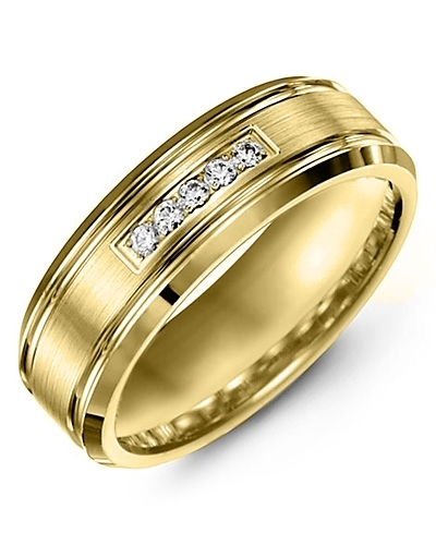 Men's & Women's Yellow Gold + 5 Diamonds 0.10ct Wedding Band 18K 6mm