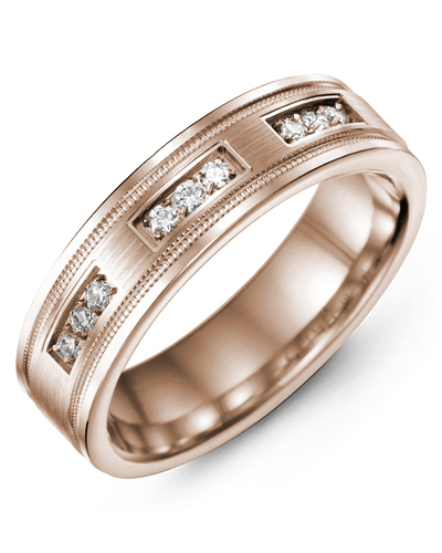 Men's & Women's Rose Gold + 9 Diamonds 0.18ct Wedding Band