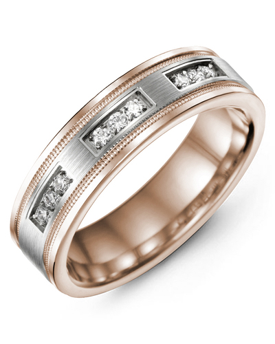 Men's & Women's Rose Gold & White Gold + 9 Diamonds 0.18ct Wedding Band