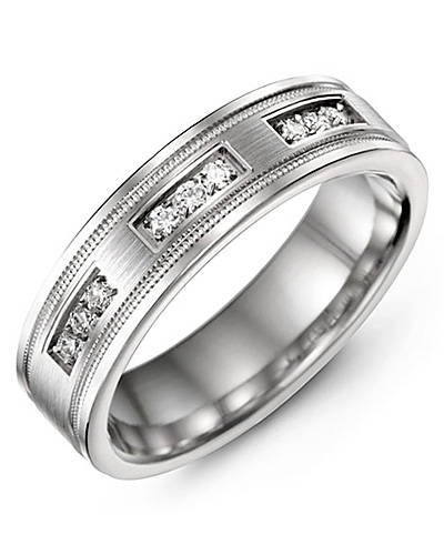 Men's & Women's White Gold & White Gold + 9 Diamonds 0.18ct Wedding Band from MADANI Rings. Wedding bands, fashion rings, promise rings, made of Tungsten, Ceramic, Cobalt, and Gold. View the collection at madanirings.com
