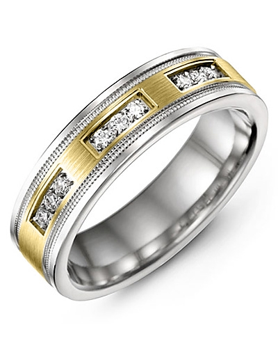 Men's & Women's White Gold & Yellow Gold + 9 Diamonds 0.18ct Wedding Band