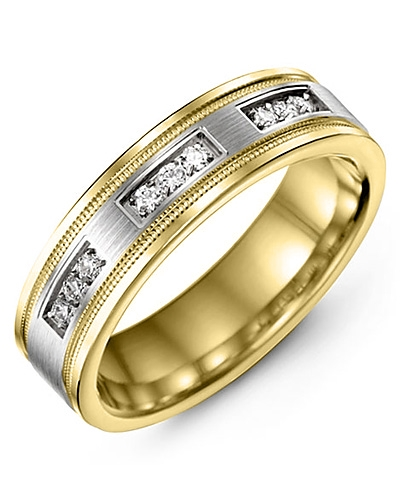 Men's & Women's Yellow Gold & White Gold + 9 Diamonds 0.18ct Wedding Band
