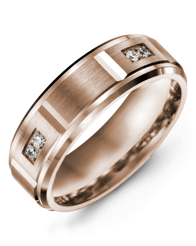 Men's & Women's Rose Gold + 4 Diamonds 0.08ct Wedding Band