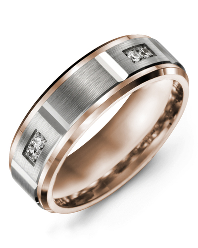 Men's & Women's Rose Gold & White Gold + 4 Diamonds 0.08ct Wedding Band