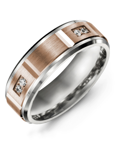 Men's & Women's White Gold & Rose Gold + 4 Diamonds 0.08ct Wedding Band