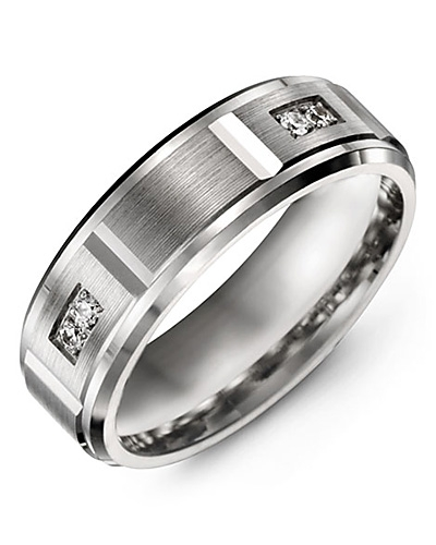 Men's & Women's White Gold & White Gold + 4 Diamonds tcw 0.08 Wedding Band
