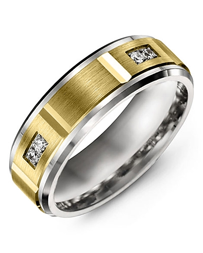Men's & Women's White Gold & Yellow Gold + 4 Diamonds 0.08ct Wedding Band