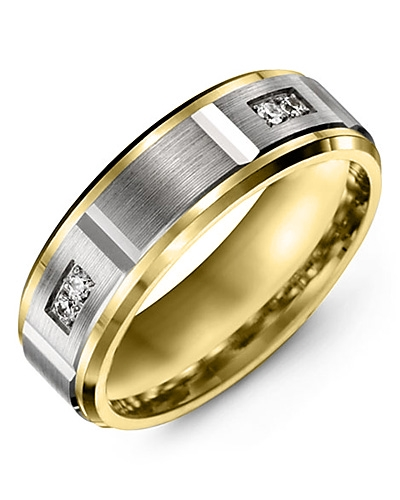 Men's & Women's Yellow Gold & White Gold + 4 Diamonds 0.08ct Wedding Band