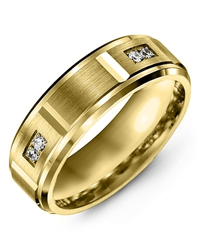 Men's & Women's Yellow Gold + 4 Diamonds 0.08ct Wedding Band