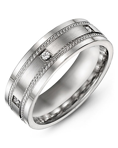 Men's & Women's White Gold & White Gold + 3 Diamonds 0.06ct Wedding Band 10K 6mm