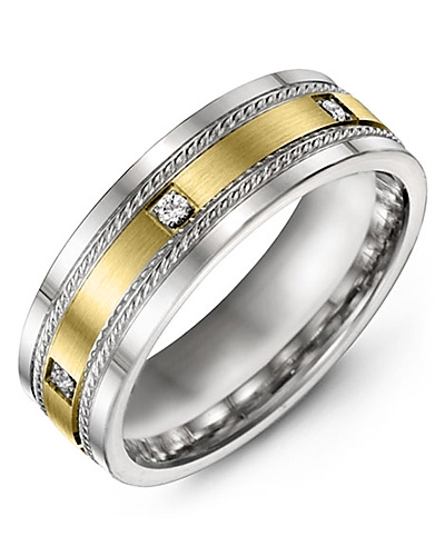 Men's & Women's White Gold & Yellow Gold + 3 Diamonds 0.06ct Wedding Band 10K 6mm
