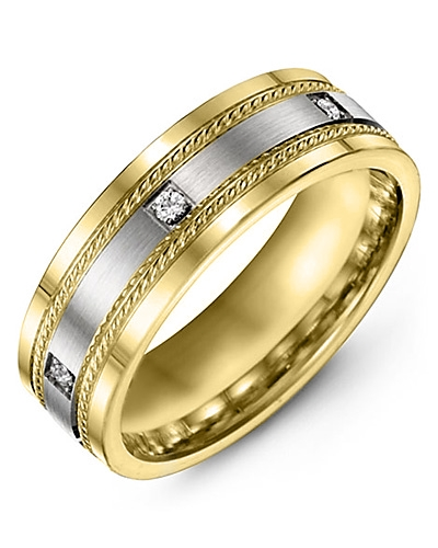Men's & Women's Yellow Gold & White Gold + 3 Diamonds 0.06ct Wedding Band 10K 6mm