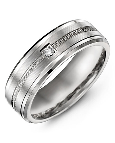 Men's & Women's White Gold & White Gold + 1 Diamond 0.05ct Wedding Band