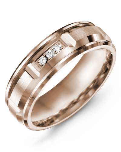 Men's & Women's Rose Gold + 3 Diamonds 0.06ct Wedding Band from MADANI Rings. Wedding bands, fashion rings, promise rings, made of Tungsten, Ceramic, Cobalt, and Gold. View the collection at madanirings.com