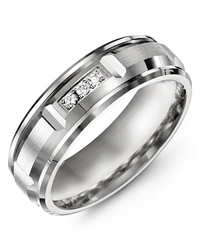 Men's & Women's White Gold + 3 Diamonds 0.06ct Wedding Band