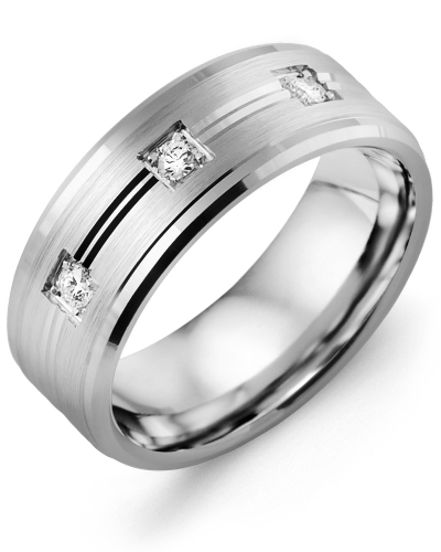 Men's & Women's White Gold + 3 Diamonds tcw. 0.15 Wedding Band from MADANI Rings. Wedding bands, fashion rings, promise rings, made of Tungsten, Ceramic, Cobalt, and Gold. View the collection at madanirings.com