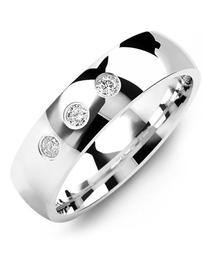 Men's & Women's White Gold + 3 Diamonds tcw. 0.15 Wedding Band