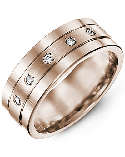 Men's & Women's Rose Gold + 5 Diamonds 0.10ct Wedding Band