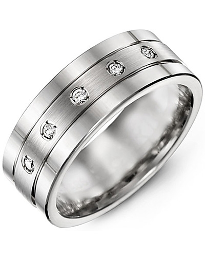 Men's & Women's White Gold + 5 Diamonds tcw. 0.10 Wedding Band from MADANI Rings. Wedding bands, fashion rings, promise rings, made of Tungsten, Ceramic, Cobalt, and Gold. View the collection at madanirings.com