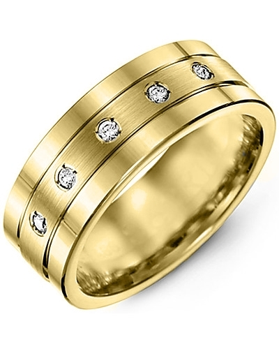 Men's & Women's Yellow Gold + 5 Diamonds 0.10ct Wedding Band