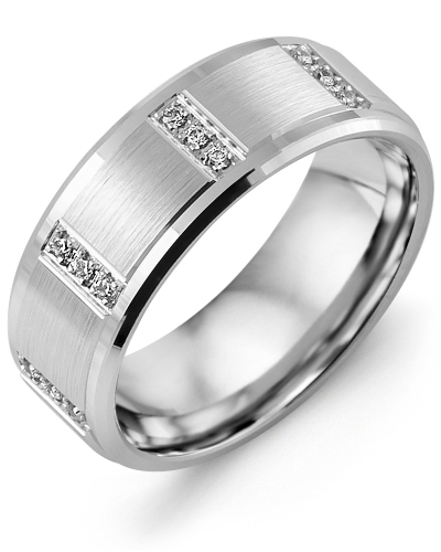 Men's & Women's White Gold + 12 Diamonds tcw 0.12 Wedding Band from MADANI Rings. Wedding bands, fashion rings, promise rings, made of Tungsten, Ceramic, Cobalt, and Gold. View the collection at madanirings.com